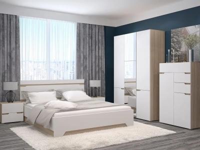 Спальный гарнитур с 3-х створчатым шкафом и комодом Анталия Сонома-Белый софт