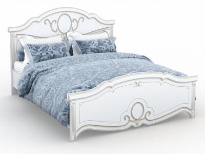 Кровать Барбара 160х200 без ламелей Белый патина золото