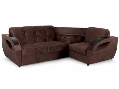 Угловой диван Бридж 3 вариант Коричневый велюр