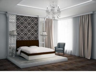 Кровать Domenic коричневая спинка-бежевые царги