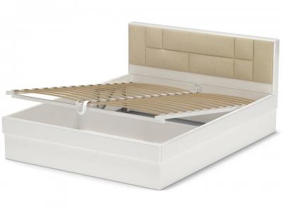 Кровать 160 Офелия ПМ Белый - МДФ Топлёное молоко - ткань Энигма варм бежевый