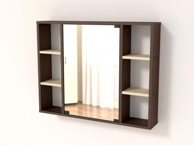 Полка с зеркалом 86 Венге - Дуб млечный