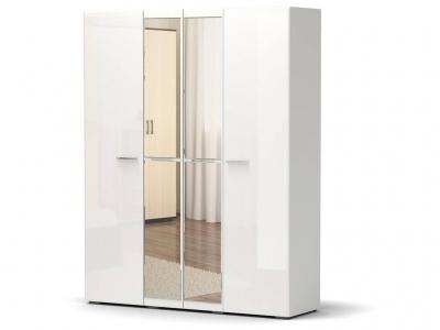 Шкаф Офелия 4-х с зеркалом Белый - МДФ Топлёное молоко