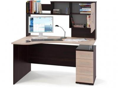 Компьютерный стол Сокол КСТ-104.1 c надстройкой правый Венге/Беленый дуб
