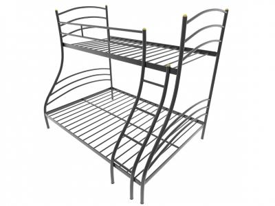 Кровать металлическая двухъярусная Глория черная