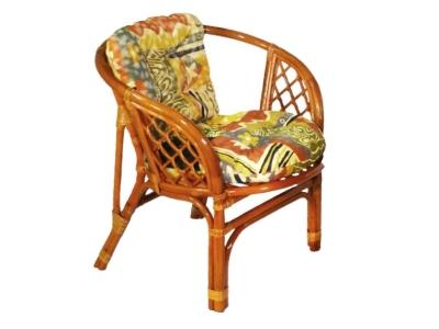 Кресло Багама коньяк с цветной подушкой