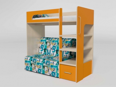 Кровать двухъярусная №10 с диваном манго