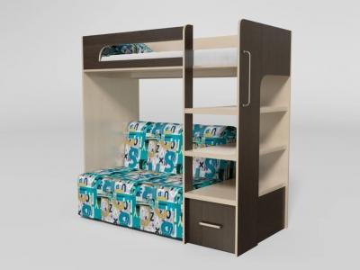 Кровать двухъярусная №10 с диваном венге