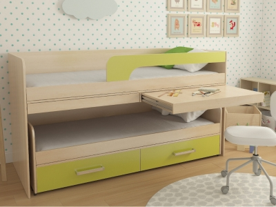 Кровать двухъярусная №11 лайм