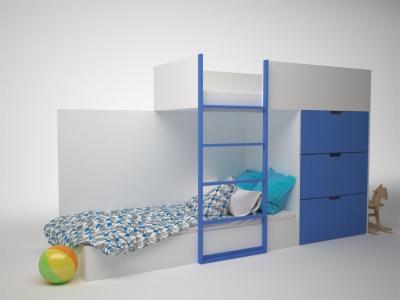 Кровать двухэтажная с комодом Брусника Синий ДМ-К2-1-2 2796х844х1602 Сп.место 1860х800
