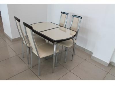 Раскладной стол кожа под стеклом Люкс шоколадно-бежевый