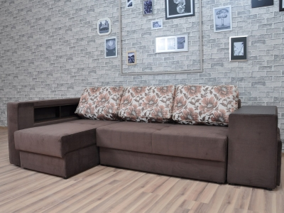 Угловой диван Мальта 7 с оттоманкой Linda Coral-Vital Chocolate