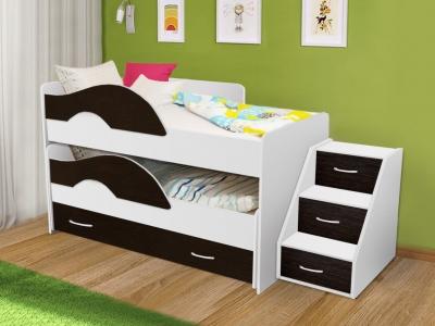 Кровать выкатная Матрешка с ящиками и лестницей белый-венге