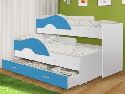 Кровать выкатная Матрешка с ящиком белый-синий