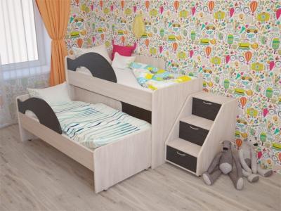 Кровать выкатная Матрешка с лесенкой дуб-венге