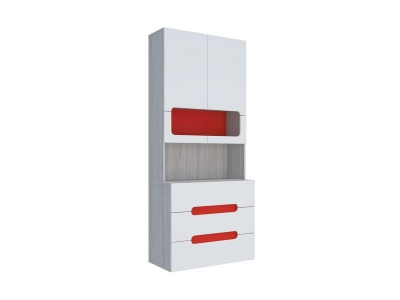 Стеллаж с ящиками Палермо-Юниор красная вставка 902х2110х445 мм