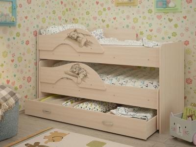 Кровать выкатная Матрешка-Сафари с ящиками дуб млечный