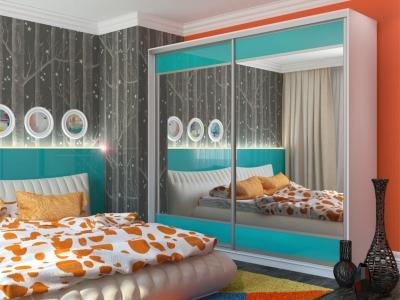 Шкаф-купе Юлия с 2-мя зеркалами МДФ белый-голубой
