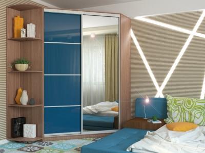 Угловой шкаф-купе Анна МДФ с угловым элементом шимо темный-синий