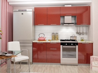 Кухня Олива 2100 Металик Красный