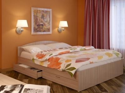 Кровать детская Веста 0.9 с ящиками дуб млечный