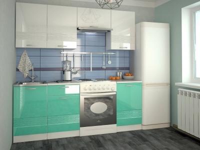 Кухонный гарнитур Волна белый металлик бирюза 2100